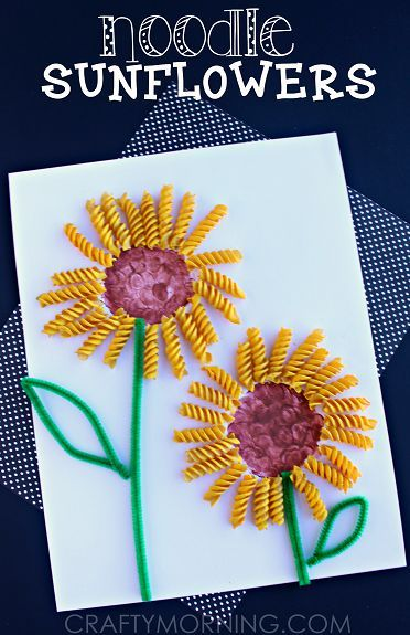 Make a Sunflower Craft Using Noodles - Fun spring or summer art project for kids! | CraftyMorning.com