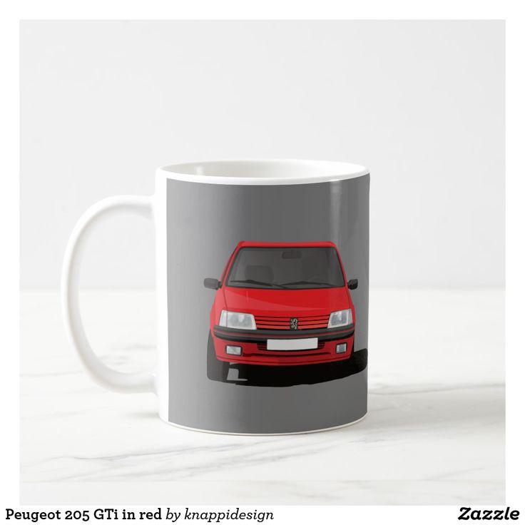 Peugeot 205 GTi in red on a coffee mug.  #peugeot #peugeot205gti #205 #205gti #gti #peugeotgifts #coffeemugs