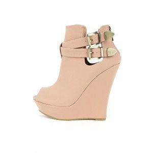 Bamboo Dreamer-23 Buckle Wedge Booties | MakeMeChic.com