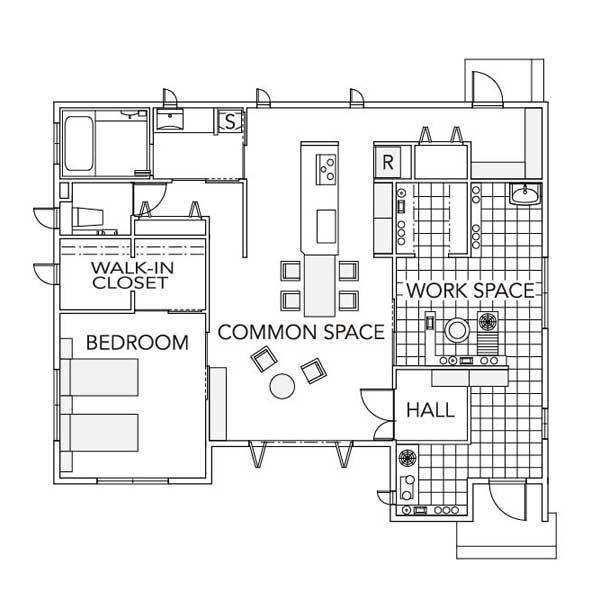 平屋で暮らす 一階間取り図モバイル