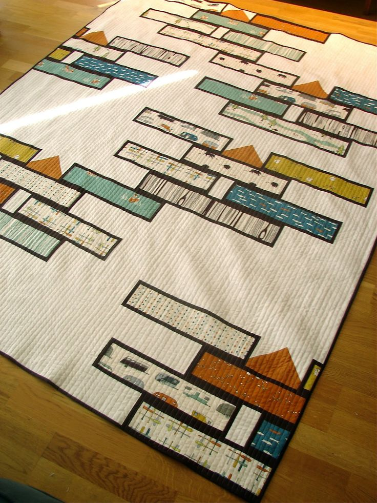 Tallgrass Prairie Studio: Fire Stacks--a modern style quilt made with camping themed fabrics
