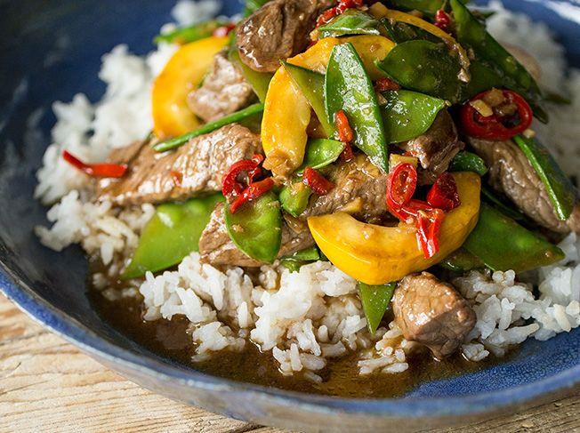 Asiatische Rinderfiletstreifen mit Ingwer und Reis