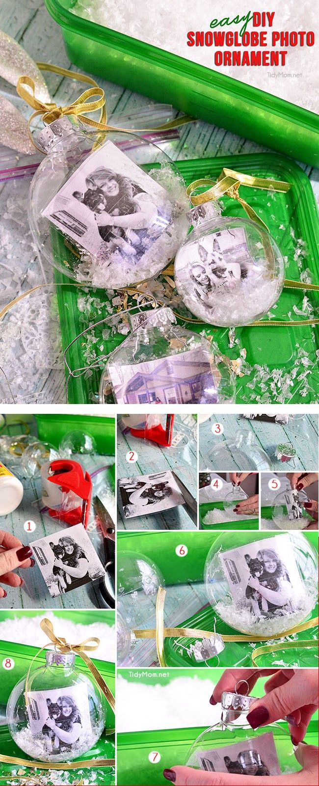 Homemade Snowglobe Photo Ornament is a fun easy project and will make a wonderful personalized gift, addition to any tree or tie one onto a gift for extra special gift wrapping. Full tutorial at TidyMom.net