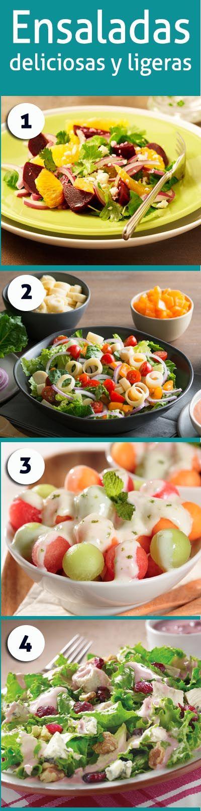 Dale vida a tu mesa con estas cuatro ensaladas llenas de sabor y vívidos colores. ¡Una comida completa, deliciosa y fácil de preparar!