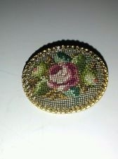 Vintage Gold Tone Pin Brooch Petit Point Needlepoint Rose