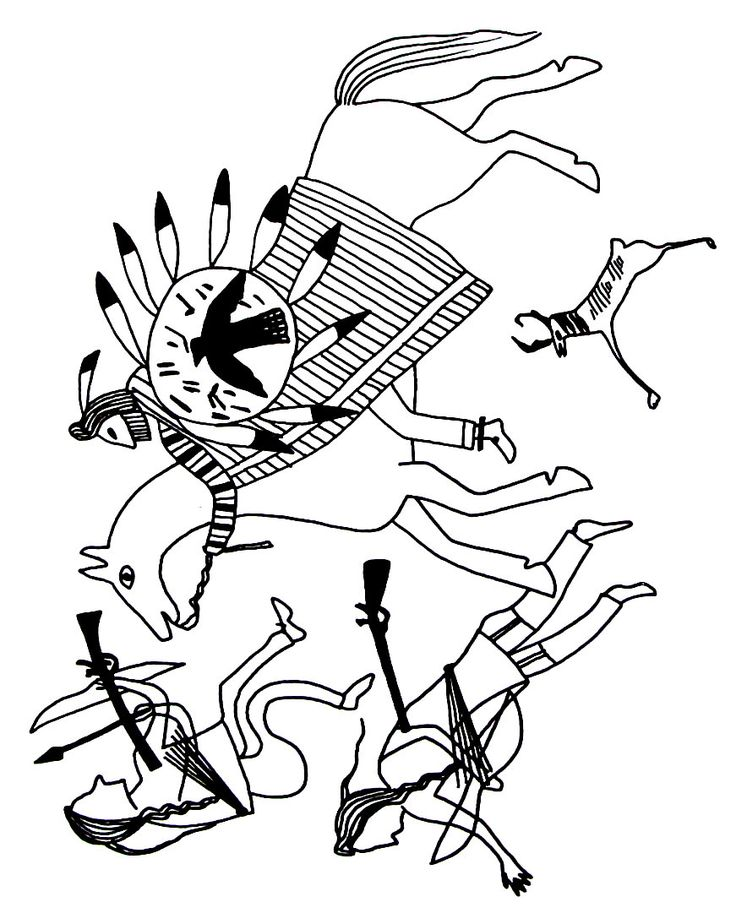 battle scene depiction between the sious and two arikaras indians coloring book page - Native American Coloring Book
