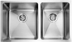 """fluid Model UDR3219 (1 3/4) Undermount Double Bowl Stainless Steel Kitchen Sink - Overall Size 32"""" x 19"""" x 9"""".  Full bowl and 3/4 size bowl."""