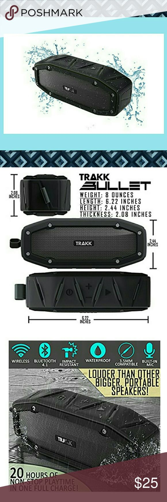 Portable Wireless 10W+ Bluetooth Speaker w/MaxBass weighs just 8oz.& measures only 6x2.8?but it packs a mean punch w/2 powerful 10W speakers that produce amazingly loud power,crystal clear sound & high quality audio built to be ultra portable,tough & has an IPX6 waterproof rating w/an external armor to protect it from drop impacts,bumps & other issues caused by active outdoor use. It has an impressive play time of 20hrs from a single full charge w/Bluetooth 4.1 technology for quick easy…