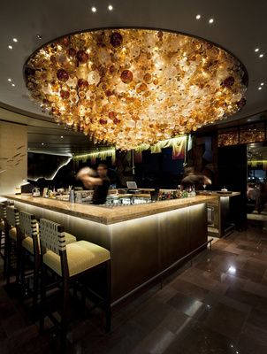 Lighting | Commercial | Nobu | Perth | Conceptual - To emulate the bubbles within a flowing river, Japanese