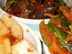 Три корейские закуски: Кактуги, Кади ча и Ойсобаджикимчи