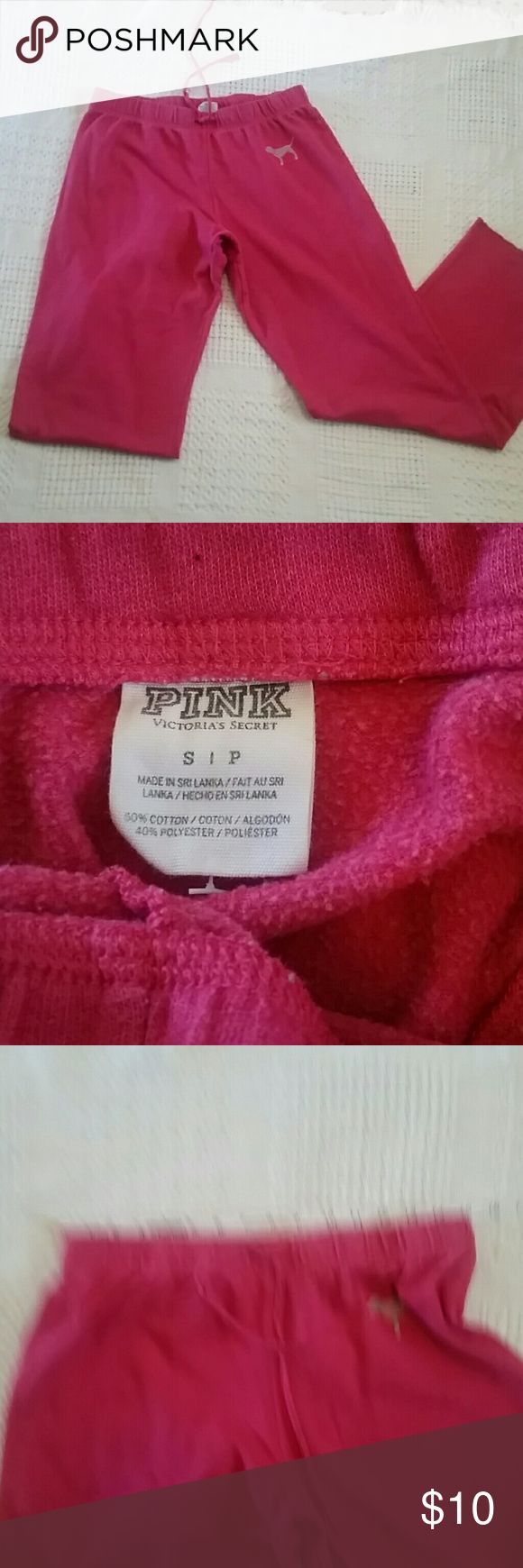 Victoria's secret Pink boyfriend sweatpants Small pink Victoria's secret boyfriend sweatpants, last pic shows marks, price reflects use PINK Pants Track Pants & Joggers