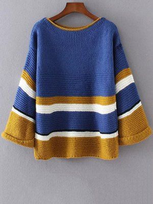 Color Block Colorful Sweater - Blue