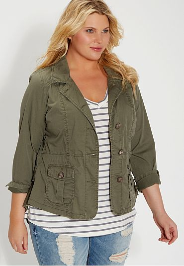 plus size military jacket with ruffled back (original price, $54) available at #Maurices