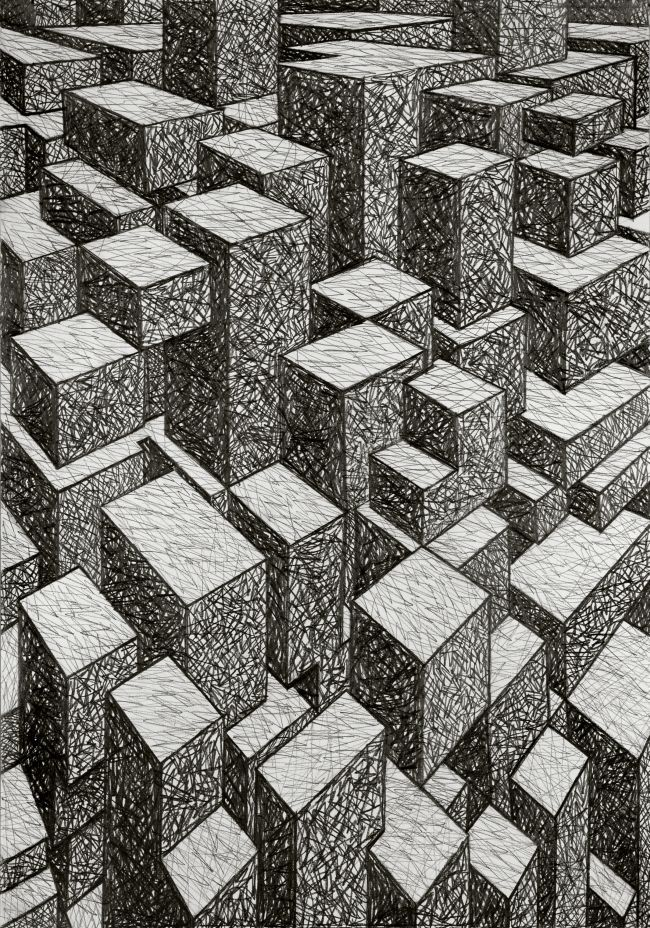 Janina Wierusz-Kowalska, Manhattan, pencil on paper, 100 x 70 cm, 2011