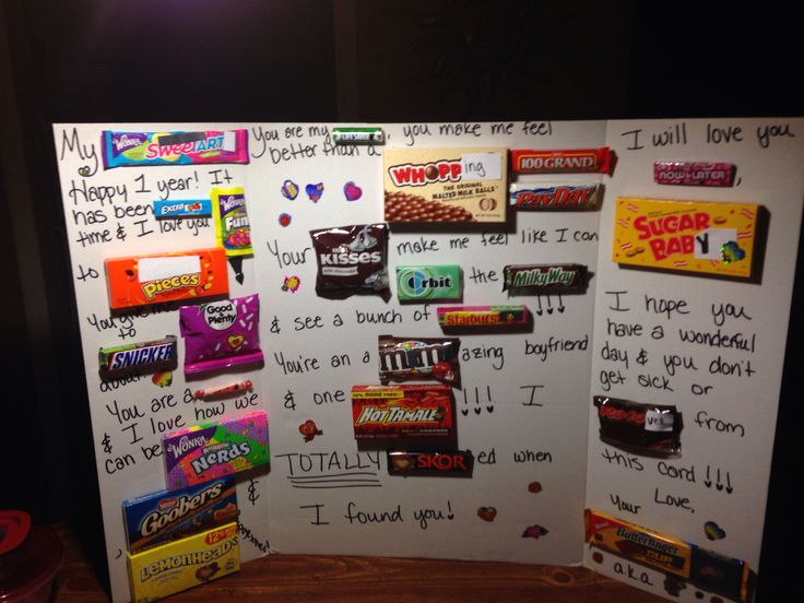 Candy card I made for mine and my boyfriends one year anniversary. I used the tri fold project board because I bought SO MUCH candy!!!! His mouth dropped to the floor when he saw it, he loved it!