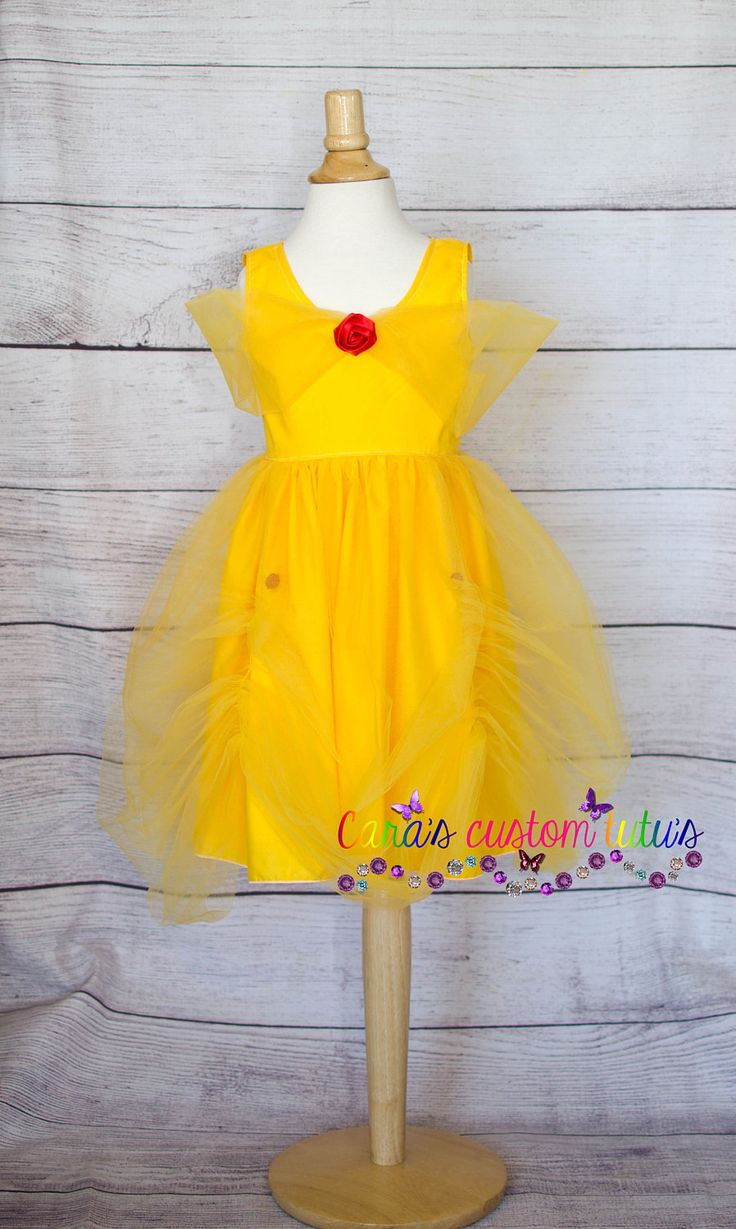 Beauty and the Beast- Belle-  Belle Dress - Costume- Red Rose- Children Dress- Daddy Daughter Dance- Ball Gown - Disney Dress- Princess by Carascustomtutus on Etsy