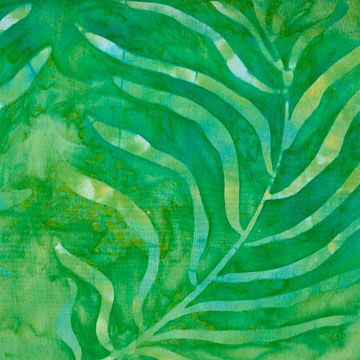 Fabric Stenciled Leaves On Green Batik Lovely Tonal Palm Leaf Green
