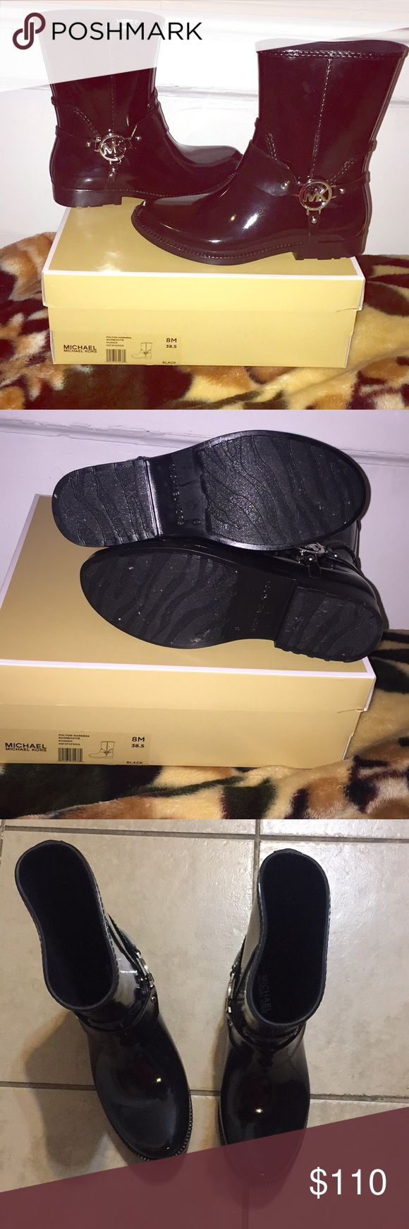 Michael Kors Fulton rain booties Only worn them once   Size 8M Color black Comes in the box as shown MICHAEL Michael Kors Shoes Winter & Rain Boots