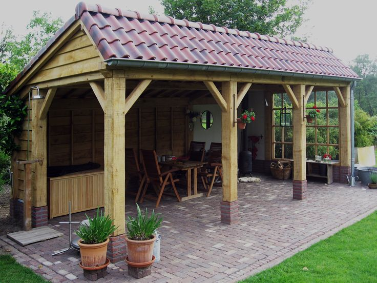 Eiken overkapping voorzien van rode dakpannen gerealiseerde projecten pinterest verandas - Veranda met dakpan ...