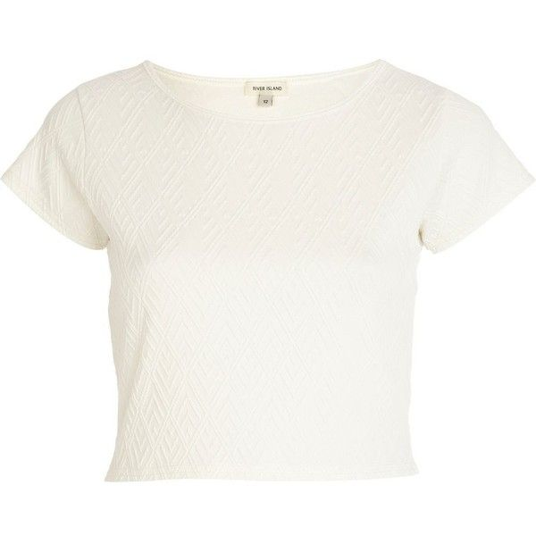 River Island White textured cap sleeve crop top ($6.51) ❤ liked on Polyvore featuring tops, crop tops, shirts, river island, white, sale, crop shirt, shirt top, cropped tops and white crop shirt