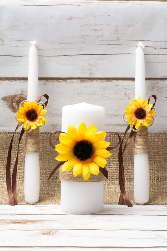 Sunflower Unity Candle For Rustic Wedding Caremony