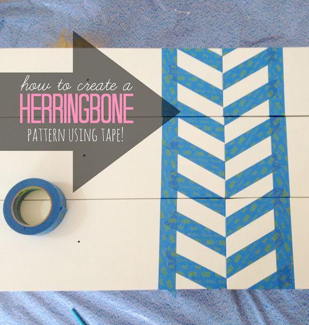 How to create a herringbone pattern on a dresser using tape | LiveLoveDIY