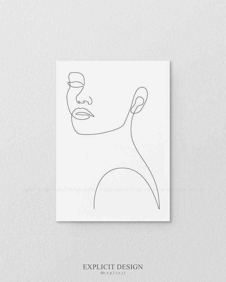 Woman/'s Silouette Art Print  Illustration  Wall Art  Home Decor  A4  Line Art  Black and White