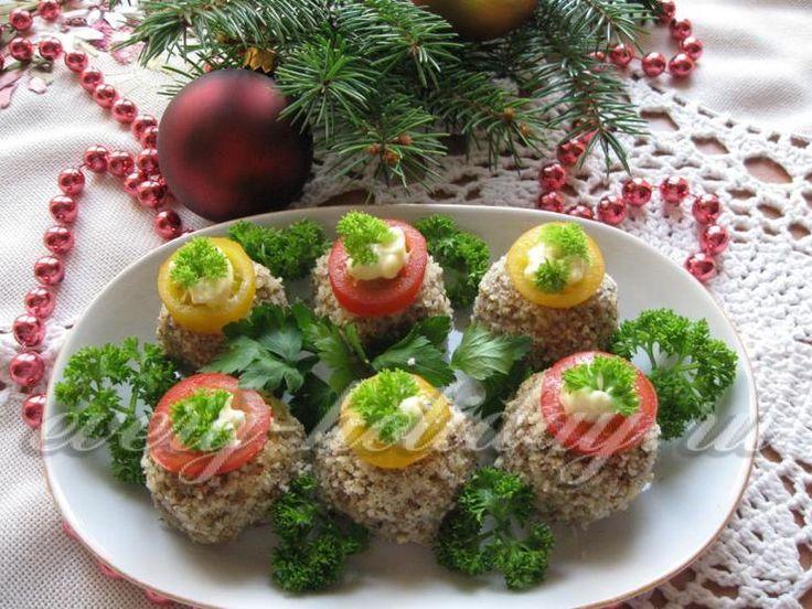 Закуска «Новогодние шарики» из куриной печени