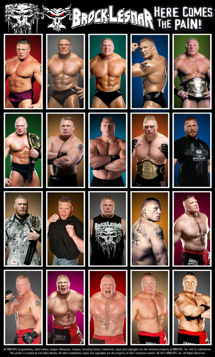 Brock Lesnar Poster featuring his WWE & UFC career photos.