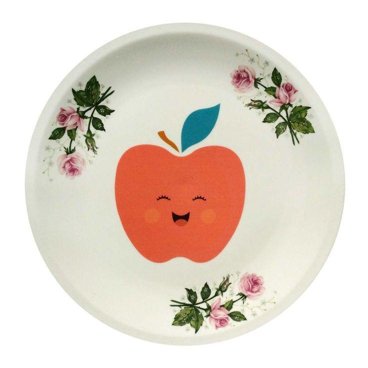 Decoratief bord met sierlijke rozen en een afbeelding van een vrolijke rode appel. Hang het aan de muur in de woon- of kinderkamer.