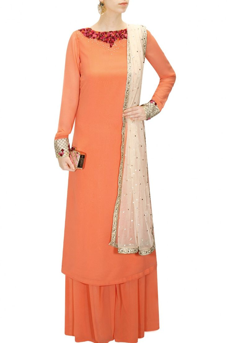 Orange embroidered kurta set with ivory dupatta available only at Pernia's Pop-Up Shop.