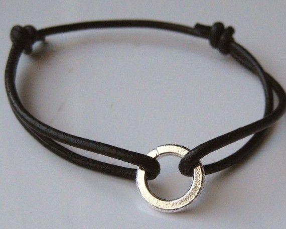 Bracelet homme cordon argent et cuir N2229
