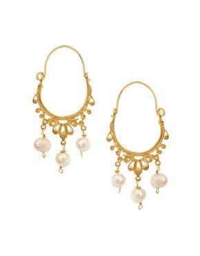 Ottoman Hands Pearl Hoop Earrings