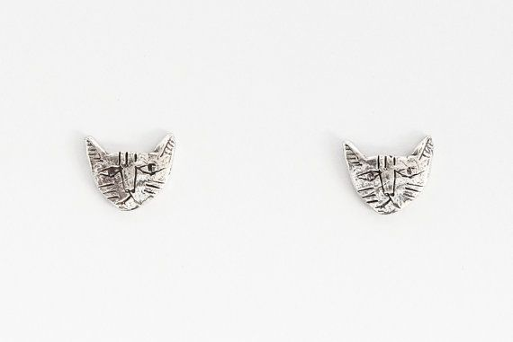 Silver tiny cat earrings by datter on Etsy, £46.00