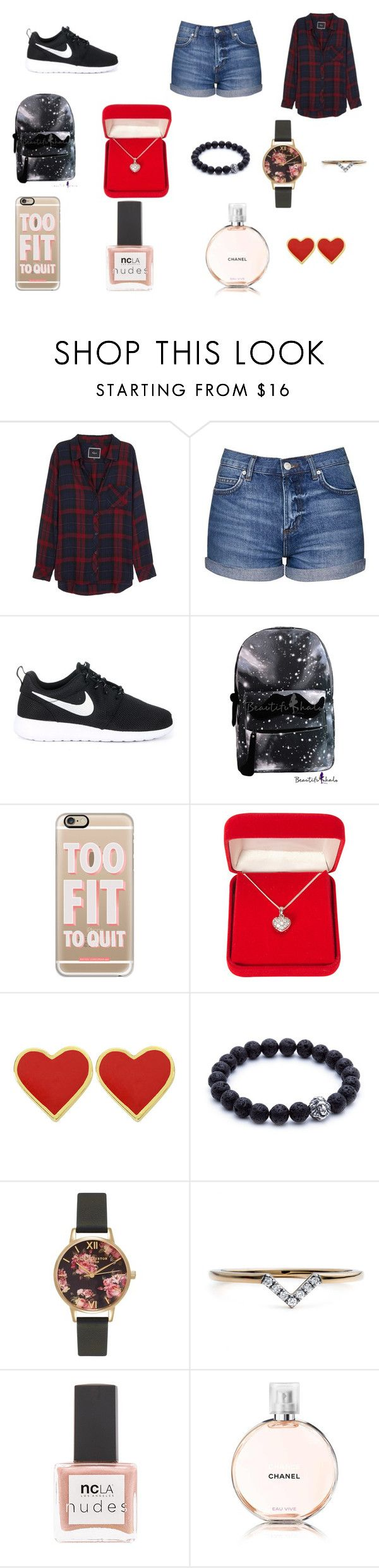 """""""Rebecca Watson"""" by bexie16 on Polyvore featuring Rails, Topshop, NIKE, Casetify, Alexa Starr, Olivia Burton, Diamonds Unleashed, ncLA and Chanel"""