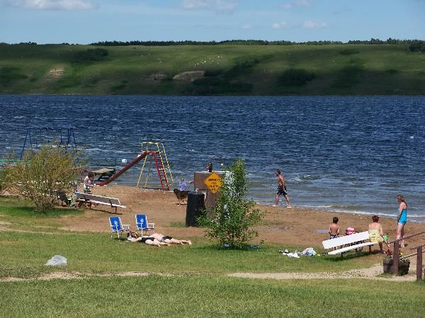 Little Manitou Lake Sask.-Like the Dead Sea the waters here are salty (it is 5 times the salt concentration of ocean water).