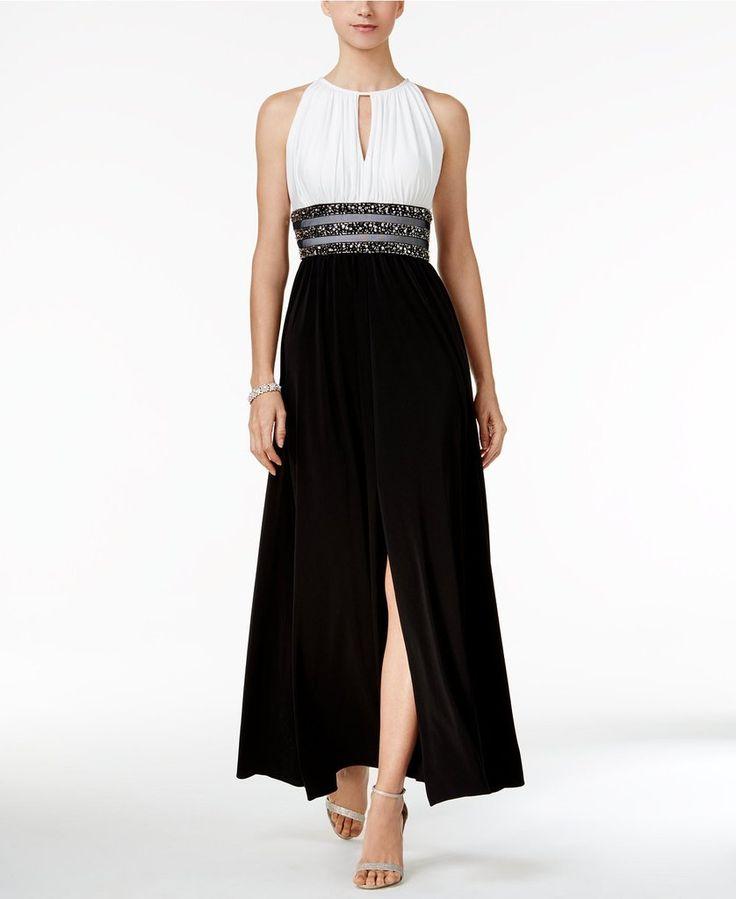 R & M Richards Embellished Keyhole Halter Gown