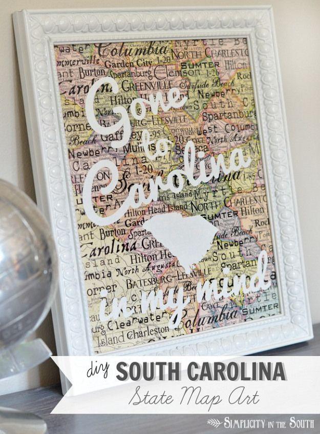 DIY South Carolina Map Art State Pride