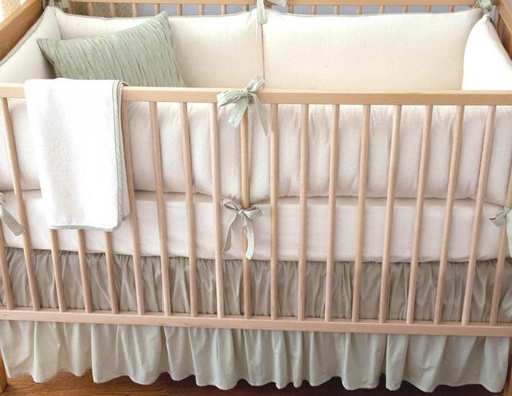 Elizabeth Allen Atelier Celery Herringbone Organic Crib Set #nursery #babynursery @PolkaDotPeacock