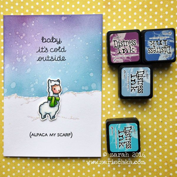 Alpaca my scarf! | I LOVE this stamp! Made the starry sky by… | Flickr