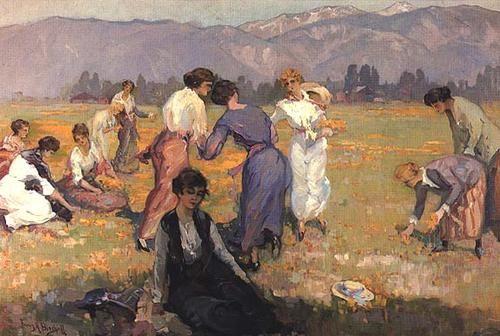 Picking-Flowers by Franz Bischoff