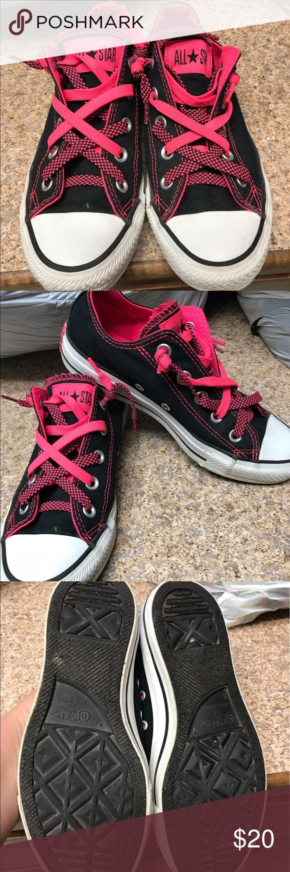 Converse All Stars Ladies Converse All Stars Size 6. Black with hot pink. In pretty good condition. Converse Shoes Sneakers
