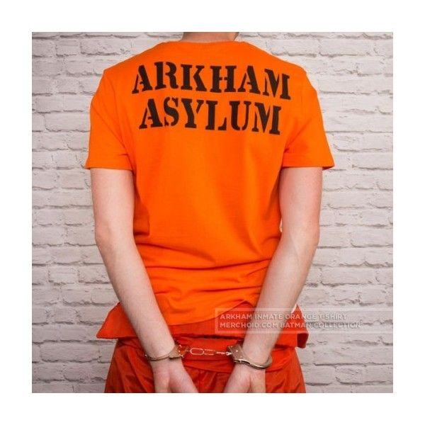 Batman Arkham Inmate Orange T-Shirt (32 AUD) ❤ liked on Polyvore featuring tops, t-shirts, cotton tees, orange tee, cotton t shirts, orange top and orange t shirt