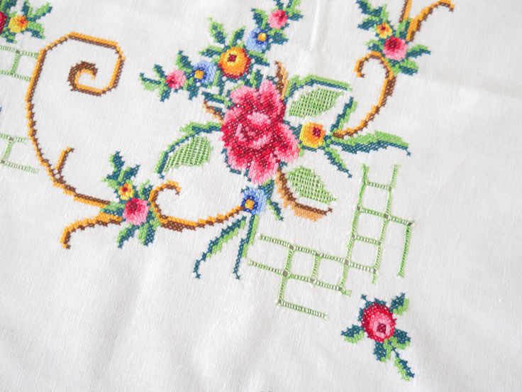 Lovely vintage tablecloth embroidered in cross stitch with a beautiful floral pattern.    The size of this beautiful tablecloth is approximately