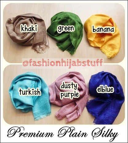 Premium Plain Silky, Pashmina dg bahan campuran antara katun polyester&sutra. Pinggiran full rawis, Super mewah IDR 115,000 cocok untuk persiapan lebaran