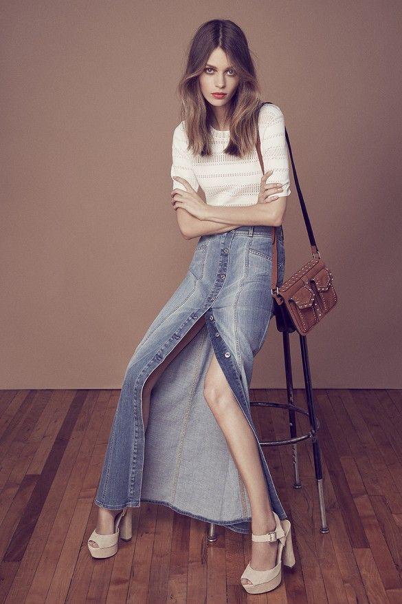 perfect '70s outfit vibes // long denim button-front skirt, knit tip, platform sandals