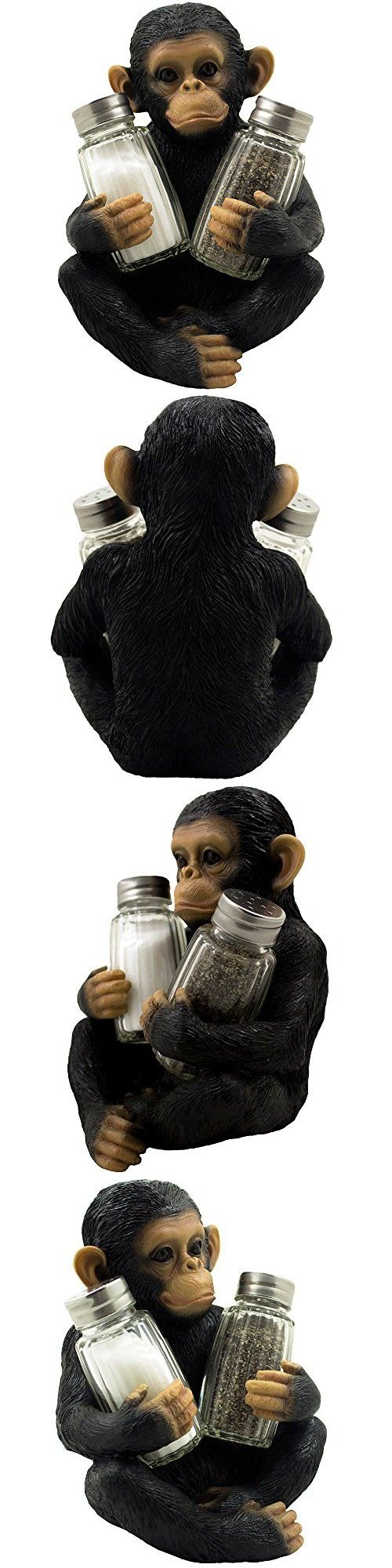 Decorative Monkey Glass Salt and Pepper Shaker Set with Holder Figurine for Tropical & African Jungle Safari Kitchen Table Decor Sculptures or Whimsical Chimp Statues As Gifts for Animal Lovers
