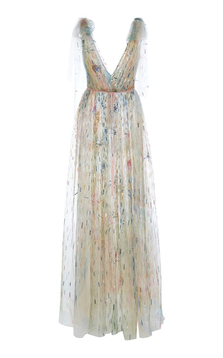 Embroidered V-Neck Gown by Monique Lhuillier