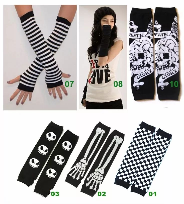 par de luvas sem dedos stretch cosplay j.rock emo gótico kei