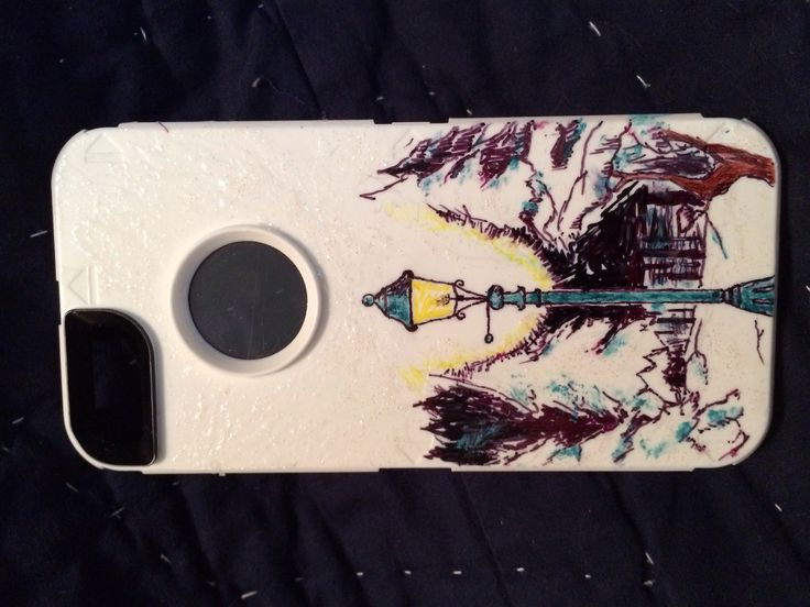 Narnia inspired phone case with sharpie markers and nail polish :D